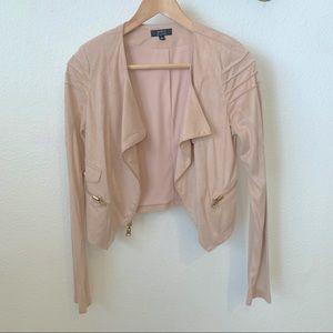 Privy pink suede moto jacket